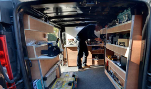 Kevin Making a Key in the Fort Locks Van