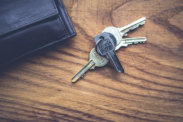 Set of house keys on a table
