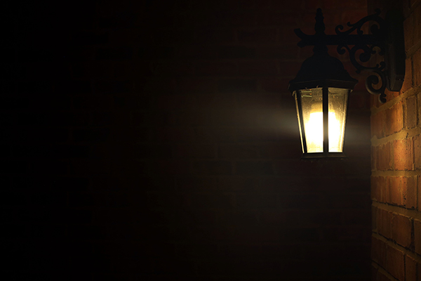 Outdoor security lighting lit up at night