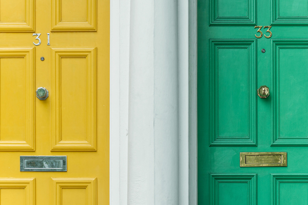 2 yellow and green modern composite front doors